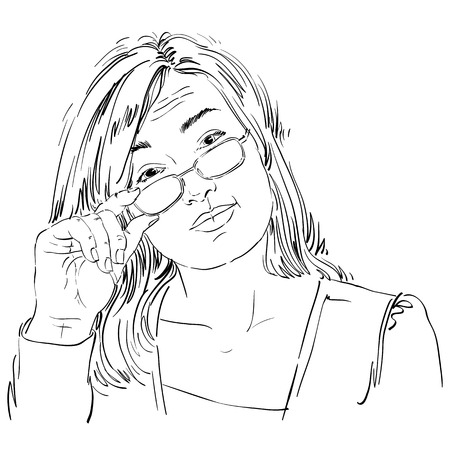 somebody: Artistic hand-drawn vector image, black and white portrait of delicate stylish girl with eyeglasses. Emotions theme illustration, business woman looks inspecting and curious at somebody.