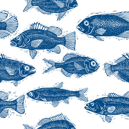 zoology: Freshwater fish vector endless pattern, nature and marine theme seamless tiling. Seafood wallpaper, zoology idea background.
