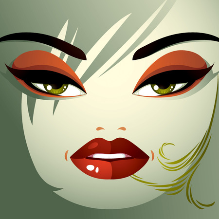 pretty eyes: Cosmetology theme image. Young pretty lady with fashionable haircut. Human eyes, lips and eyebrows reflecting a facial expression, anger. Illustration