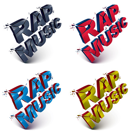 rap music: Set of 3d shattered vector rap music words created with refractions. Dimensional inscription with specks isolated on white background.