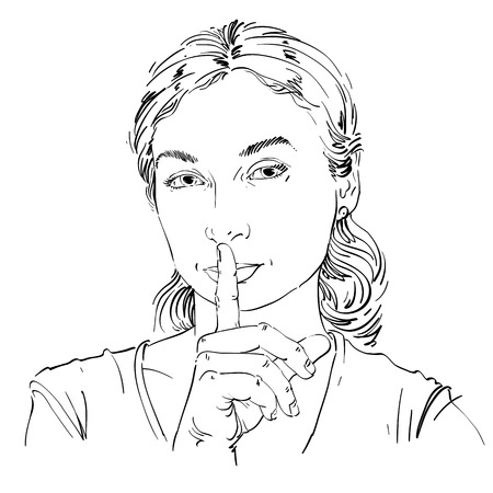 hush hush: Vector art drawing, portrait of peaceful girl making a hush sign with her finger. Facial expressions, people emotions. Be quiet theme, be still illustration.