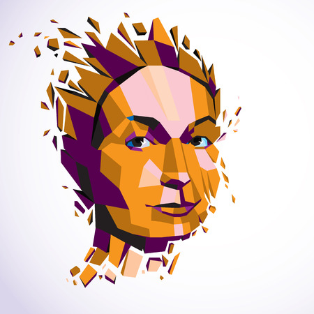 personality: Modern technological illustration of personality, 3d vector portrait. Intelligence metaphor, low poly face with splinters which fall apart, head exploding with ideas, thoughts and imagination.