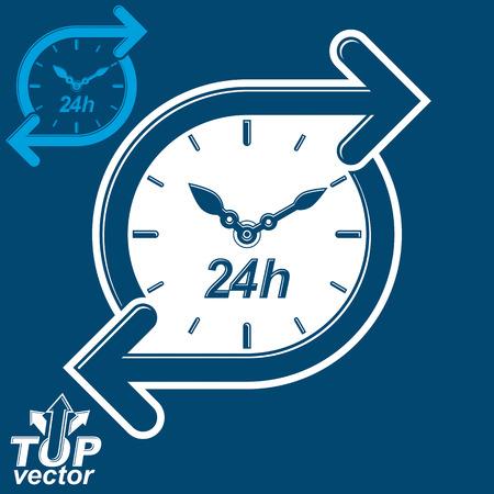 gestion del tiempo: Vector simple temporizador de 24 horas, en torno al reloj de pictograma plana con la versi�n invertida. Veinticuatro horas al d�a icono de la interfaz. Tiempo del asunto ilustraci�n gesti�n. Vectores