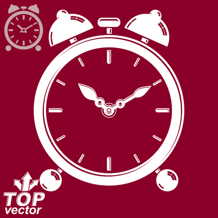 clang: Vector 3d alarm clock with two symmetric bells, wake up conceptual icon. Graphic design element � get up theme. Red retro timer with clang bells, invert version.