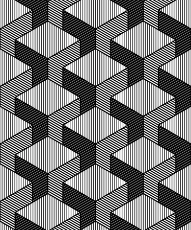 superimpose: Monochrome illusory abstract geometric seamless pattern with 3d geometric figures. Vector black and white striped backdrop. Illustration