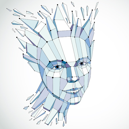 3d vector portrait created with lines mesh. Intelligence allegory, blue low poly face with splinters which fall apart, head exploding with ideas, thoughts and imagination.