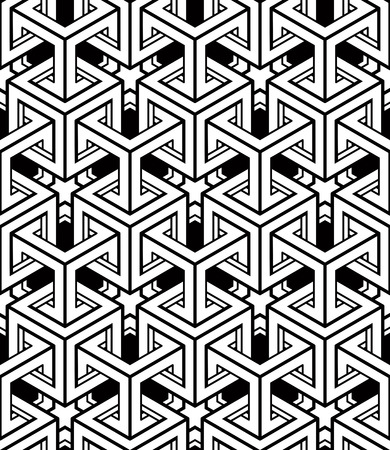 Illusive continuous monochrome pattern, decorative abstract background with 3d geometric figures. Contrast ornamental seamless backdrop, can be used for design and textile.