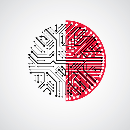 electronic scheme: Vector abstract technology illustration with round black and red circuit board. High tech circular digital scheme of electronic device, multidirectional arrows.