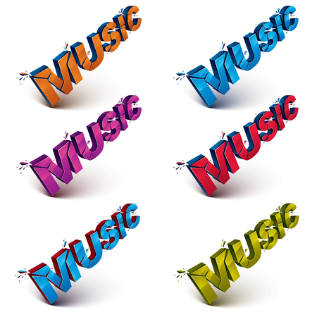 demolished: Collection of 3d music word broken into pieces, demolished vector design elements. Shattered art stylish inscription in different colors