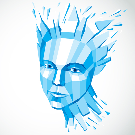futuristic girl: Face of a thinking woman created in low poly style, 3d vector human head in blue color, brain exploding which symbolizes intelligence and imagination.