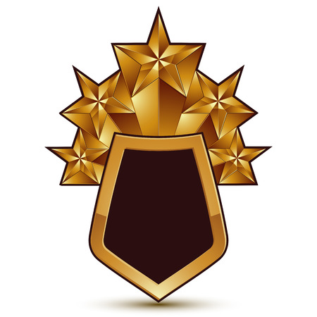 aurum: Heraldic 3d glossy icon for use in web and graphic design, pentagonal golden stars. Classic luxury badge.