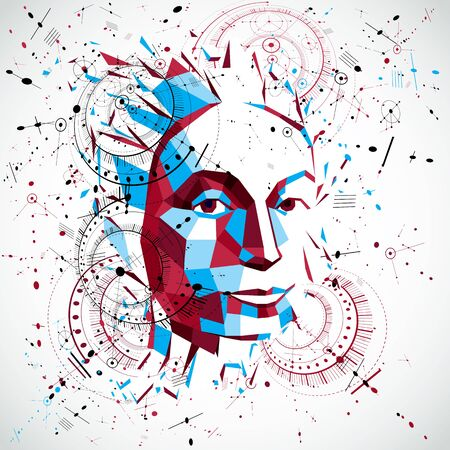 smart woman: 3d vector low poly portrait of a smart woman, human thoughts metaphor. Artistic background made using modern technology style visual elements, mechanical scheme parts and connected lines.