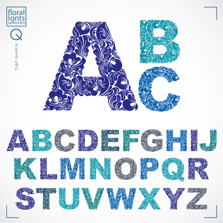 typescript: Floral font, hand-drawn vector capital alphabet letters decorated with botanical pattern. Ornamental typescript, vintage design lettering.