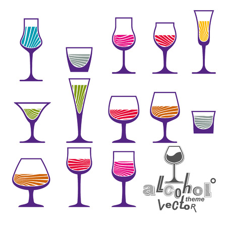 revelry: Classic vector goblets collection � martini, wineglass, cognac and whiskey. Alcohol theme illustrations. Lifestyle graphic design elements, set of simple glasses.