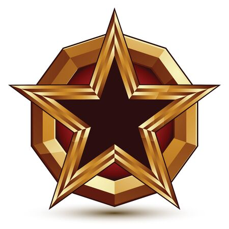 glorious: Vector glorious glossy design element, luxury 3d black star with golden borders, classic conceptual graphic insignia.