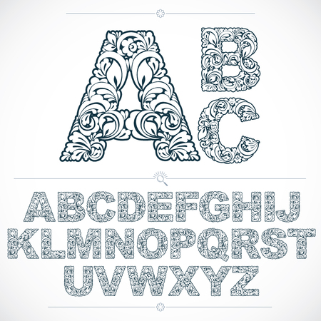 Floral alphabet sans serif letters drawn using abstract vintage pattern, spring leaves design. Black and white vector font created in natural eco style. Vectores
