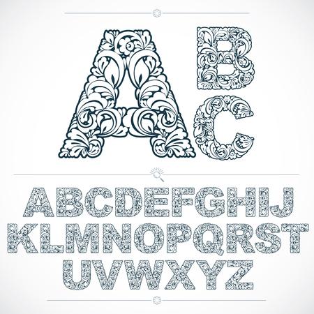 bonito: sans serif alfabeto floral letras dibujadas usando el modelo abstracto de la vendimia, primavera diseño de las hojas. fuente vectorial blanco y negro creado en el estilo de los ecosistemas naturales.