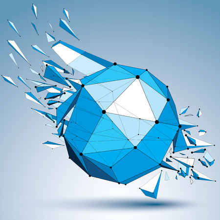 fragmentation: 3d vector low poly object with black connected dotted lines, geometric wireframe blue shape with fractures. Asymmetric perspective shattered polygonal form.