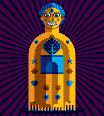 mythic: Avant-garde avatar, colorful drawing created in cubism style. Modernistic geometric portrait, vector illustration of mythic idol.