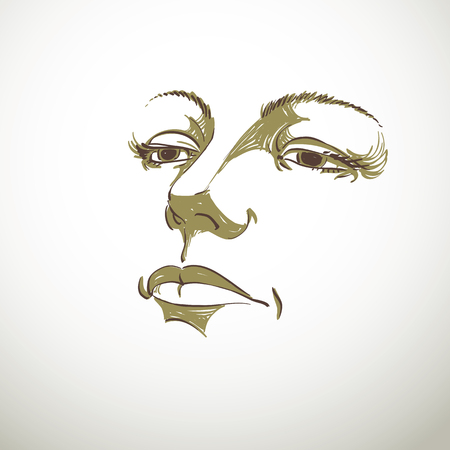 sorrowful: Black and white illustration of lady face, delicate visage features. Eyes and lips of a sorrowful woman, emotional expression. Illustration