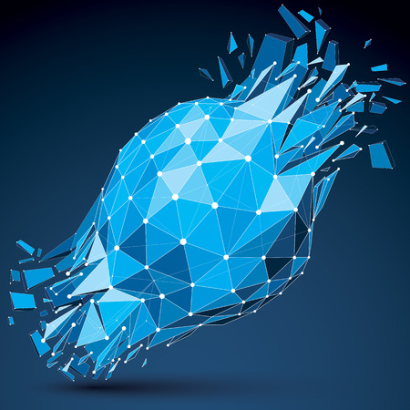 shatter: Abstract asymmetric blue vector low poly wrecked object with different triangular particles. 3d origami futuristic form with 3d mesh and white connected dotted lines.