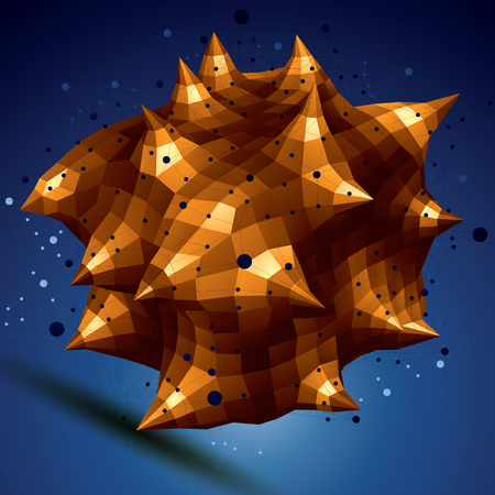 complicated: Abstract asymmetric vector golden object with lines mesh, complicated geometric shape. Illustration