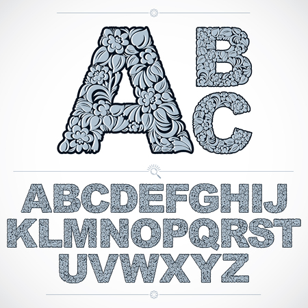 typeset: Ecology style blue flowery font, vector typeset made using natural ornament. Alphabet capital letters created with spring leaves and floral design.
