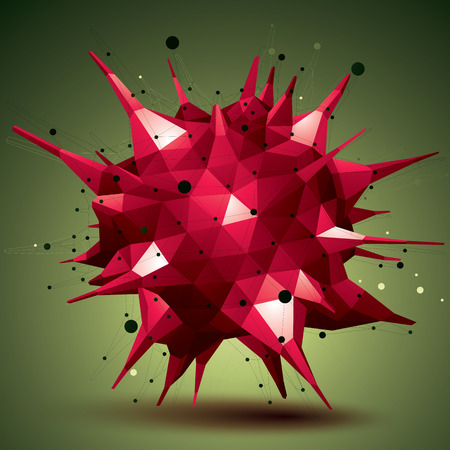 deformed: Abstract 3D structure polygonal network object, red deformed figure.