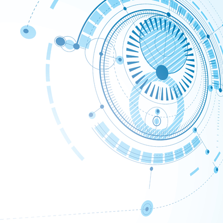 technical drawing: Technical drawing made using dashed lines and geometric circles. Blue perspective vector wallpaper created in communications technology style, 3d engine design.