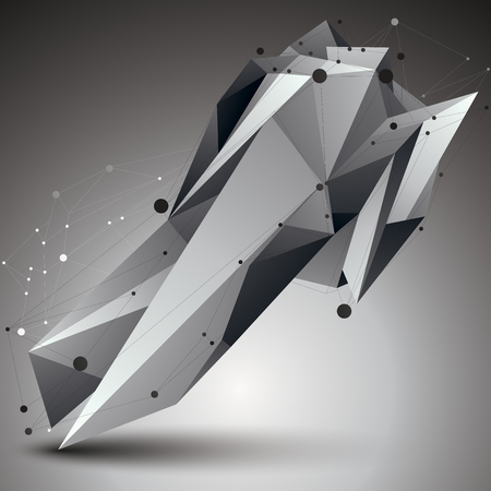 apex: 3D vector abstract technology illustration, perspective geometric unusual object with wireframe. Origami shape.