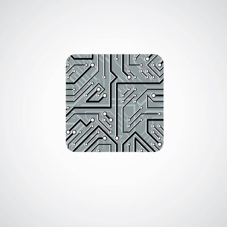 cpu: Vector technology cpu design with square microprocessor scheme. Computer circuit board, digital element.