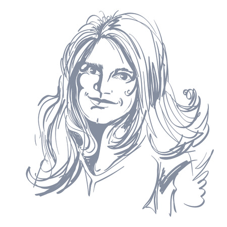 wavy hair: Hand-drawn vector illustration of beautiful romantic woman with long wavy hair. Monochrome image, positive expressions on face of young lady. Illustration