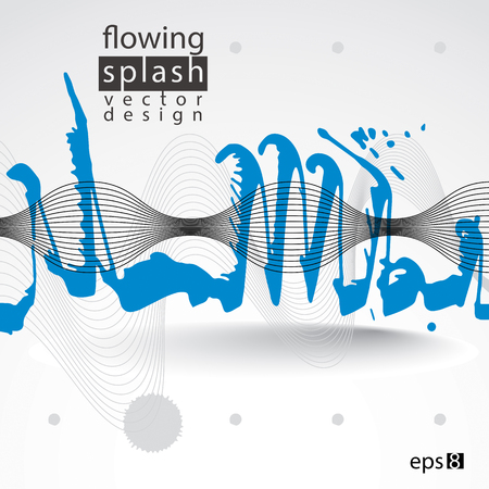 ephemeral: Modern vector inky wallpaper, flowing lines, ephemeral blob painted with brush, muddled graffiti shape element, expressive untidy illustration.