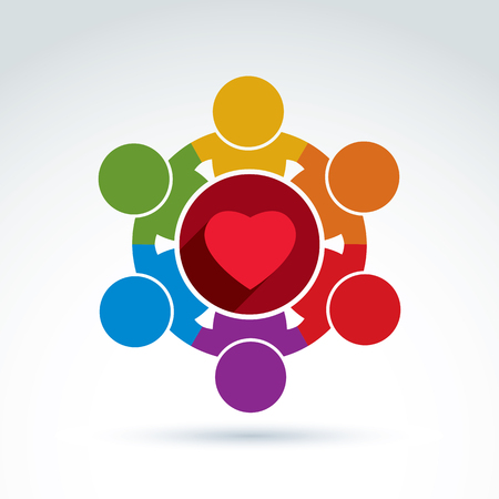 association: Vector colorful donation symbol, international charity association icon. Illustration of a red loving heart placed in a circle. Concept of assistance and volunteer.