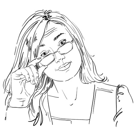 skeptic: Hand-drawn vector illustration of beautiful business woman in doubt. Monochrome image, expressions on face of young distrustful lady with eyeglasses.