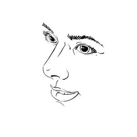 features: Vector drawing of pensive woman thinking about something. Black and white portrait of attractive still lady with delicate features.