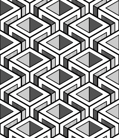 Geometric seamless pattern, endless black and white vector regular background. Abstract covering with 3d superimpose figures.