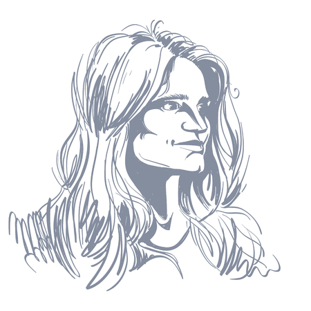 bemused: Vector portrait of attractive pensive woman, illustration of good-looking romantic female. Person emotional face expression.