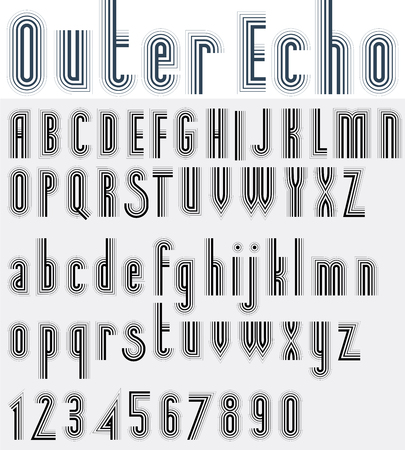 echo: Parallel striped black and white font and numbers, light echo poster letters.
