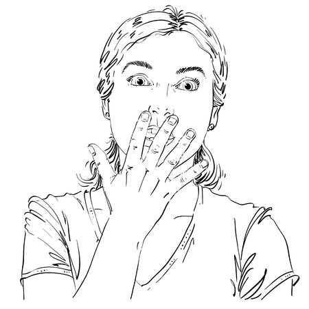 terrified: Graphic vector hand-drawn illustration of white skin impressed lady gesturing with hands. People face expressions. Terrified girl portrait.