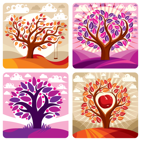 fruitful: Art vector graphic illustration of stylized tree and peaceful purple and orange fantastic landscape with clouds and setting sun. Beautiful nature, ecology theme. Illustration