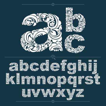 flowery: Ecology style flowery font, vector typeset made using natural ornament. Monochrome alphabet lowercase letters created with spring leaves and floral design.