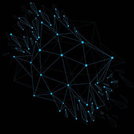 refractions: 3d vector low poly object with blue connected lines and dots, geometric wireframe shape with refractions. Asymmetric perspective shattered form. Luminescent effect, communication technology.