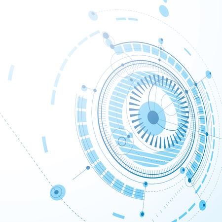 diseño técnico, azul de fondo digital vectorial con elementos de diseño geométrico, círculos. Ilustración 3D de sistema de ingeniería, perspectiva abstracta contexto tecnológico.