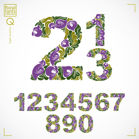 numeration: Floral numerals, hand-drawn vector numbers decorated with botanical pattern. Ornamental numeration, digits made in vintage design.