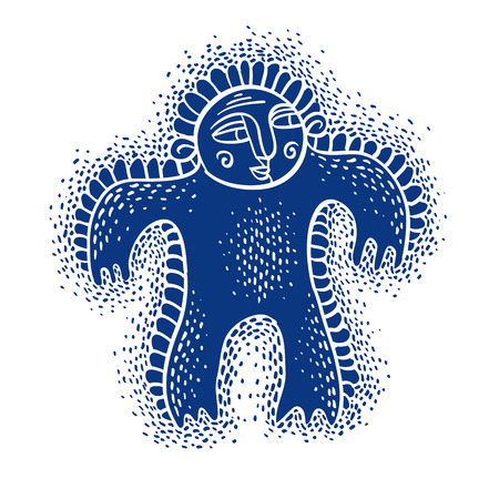mutant: Character monster vector flat illustration, cute blue mutant. Drawing of weird beast, emotional expression.