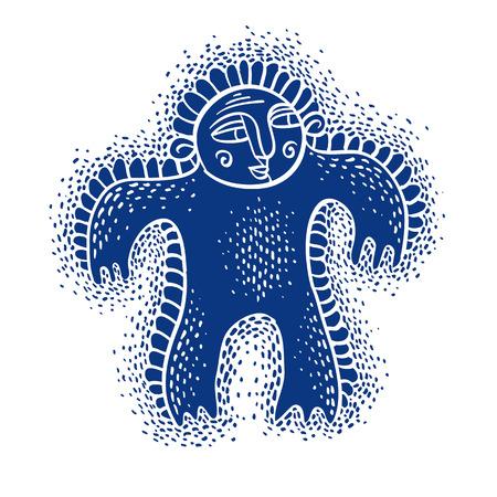 weird: Character monster vector flat illustration, cute blue mutant. Drawing of weird beast, emotional expression.