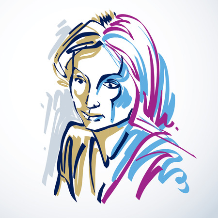 beautiful sad: Silhouette of beautiful tender woman, graphic vector illustration with strokes. Facial expressions, people emotions.