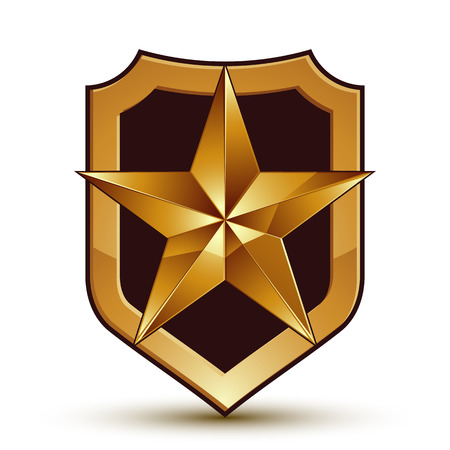 glamorous: Sophisticated vector blazon with a golden star emblem, 3d pentagonal glamorous design element.