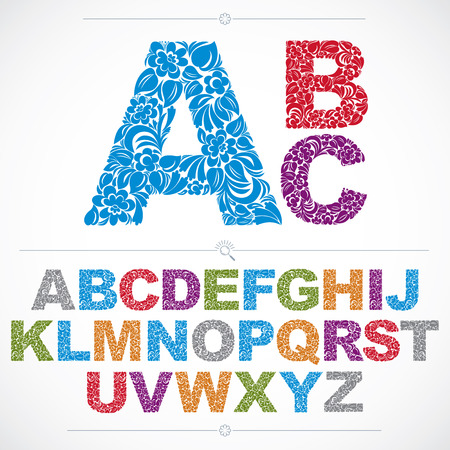 flower alphabet: Floral alphabet sans serif letters drawn using abstract vintage pattern, spring leaves design. Colorful vector font created in natural eco style.